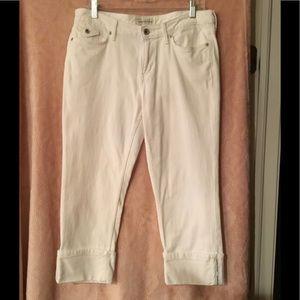 Banana Republic White Wide Cuff Crop Jeans